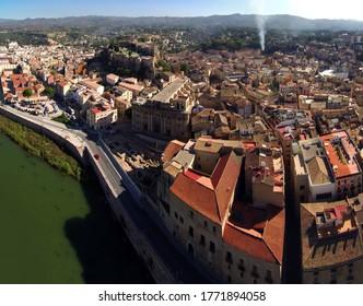 Aerial view in Tortosa, city of Tarragona.Catalonia,Spain. Drone Photo