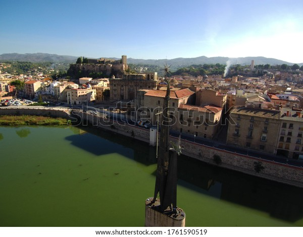 Aerial view in Tortosa, city of Tarragona.Catalonia,Spain. Drone Photo