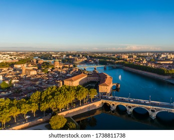 Aerial view of the Toulouse city center, Saint Joseph Dome and River Garonne, Occitanie, France
