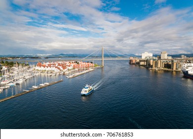 Aerial view of the tourist ship in the bay of Stavanger, Norway
