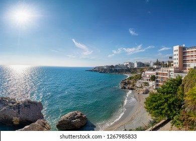 """Aerial view of  touristic town Nerja in Costa del Sol in winter from """"balcon de Europa"""", Andalusia, Spain"""