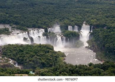 Aerial view toward Argentina's side of Iguazu Falls