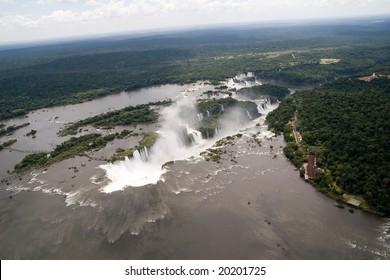 Aerial view toward Iguazu Falls' Devil's Throat Waterfall