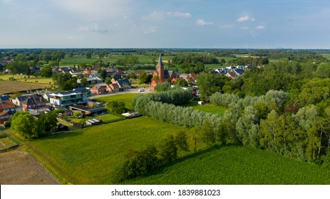 Aerial view towards the village of Puivelde, in East Flanders,  Belgium