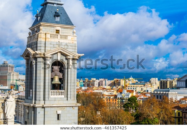aerial view of a tower of the Almudena cathedral in Madrid