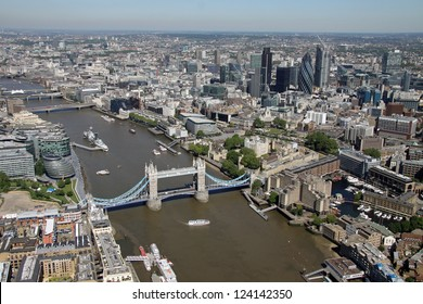 aerial view of Tower Bridge and The Thames London