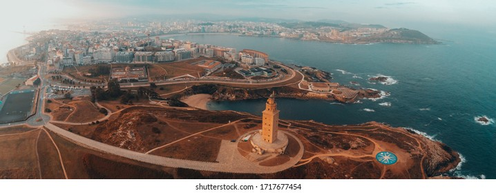 Aerial view of the Tower of Hercules,  roman lighthouse in A Coruña, Spain. UNESCO World Heritage Site