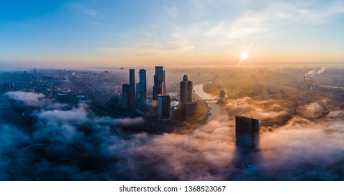 A aerial view of towers of the Moscow International Business Centre also known as Moscow City at dawn.