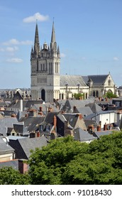 Aerial view of the town Angers with the cathedral Saint Maurice. Angers is a commune in the Maine-et-Loire department in western France about 300 km (190 mi) south-west of Paris