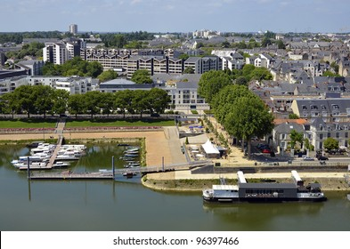Aerial view of the town of Angers with the port on the Maine River in the Maine-et-Loire department in western France about 300 km (190 mi) south-west of Paris