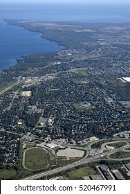aerial view of the town of Barrie during Autumn, Ontario Canada