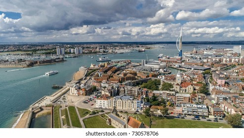 Aerial view of the town and the bay of Portsmouth, Southern England