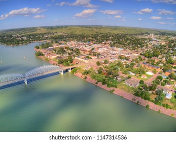 Aerial View of the Town of Chamberlain on the Shore of the Missouri River in South Dakota