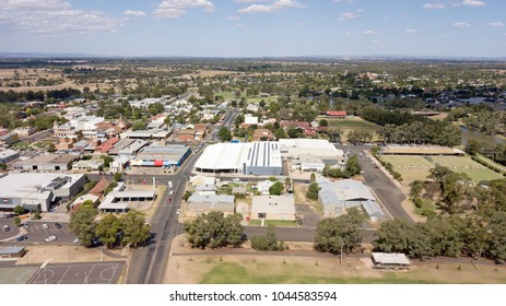 Aerial view of the town of  Forbes in the Central west of New South Wales, Australia.