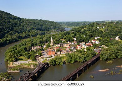 Aerial view of the town of Harpers Ferry, West Virginia, which includes Harpers Ferry National Historical Park, located between the Potomac River and the Shenandoah River.