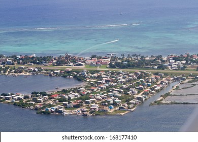 Aerial view of the town of  San Pedro in Ambergris Caye, Belize