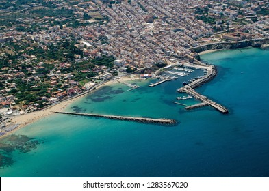 Aerial view of the town of Terrasini in Palermo, Sicily on a sunny summer morning.