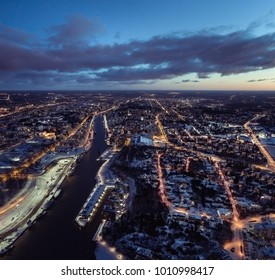 Aerial view of the  town of Turku at morning illuminated by street lights