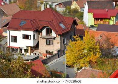 Aerial view of the town. Typical urban landscape of the city Brasov, situated in Transylvania, Romania, in the center of the country.