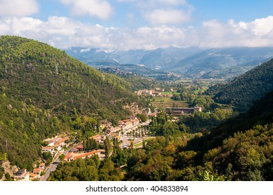 Aerial view of town village near Terni in Umbria, Italy. Urban italian landscape aerial view