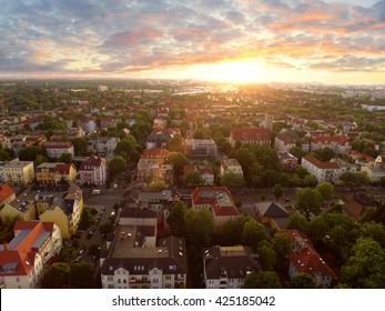 Aerial View of townhouses in sunset - germany