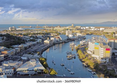 aerial view of Townsville in the evening