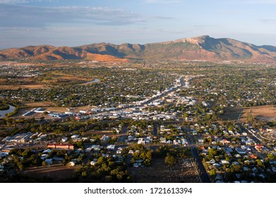 Aerial view of Townsville, Queensland, Australia, a port city on the Coral sea in a mining and agricultural area near the Great Barrier Reef
