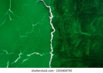 Aerial view of toxic wastewater from a mine in Andalusia, Spain
