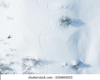 Aerial view of traces of ski in snow covered landscape