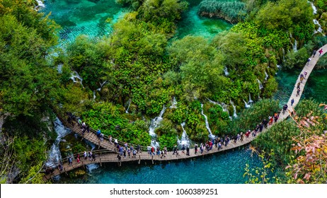 Aerial view of a track at Plitvice Lakes National Park