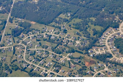 Aerial view of tract housing developments with affordable homes near the Atlanta airport, in Georgia.