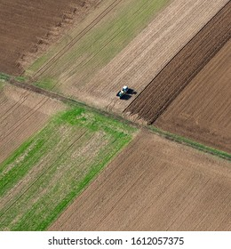 aerial view of a tractor in a field