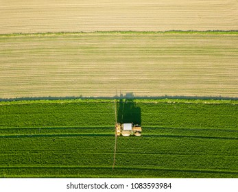 Aerial view of tractor on a field