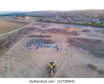 Aerial View of tractors on construction site