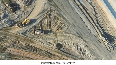 Aerial View Of Tractors On A Construction Site