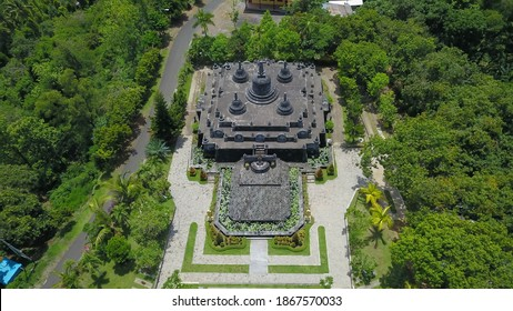 Aerial view of Traditional Buddhist temple Brahma Vihara Arama, Bali,Indonesia. Balinese Temple, Architecture, Ancient design. Travel concept