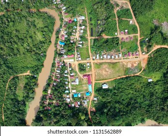 Aerial view of traditional Dayak Merabu village in heart of jungle beside the river in the North Kalimantan (Borneo), Indonesia
