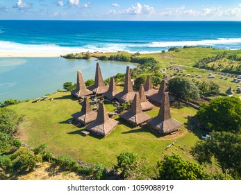 "Aerial view of traditional house of ""Ratenggaro - Sumba, East Nusa Tenggara"" Indonesia"