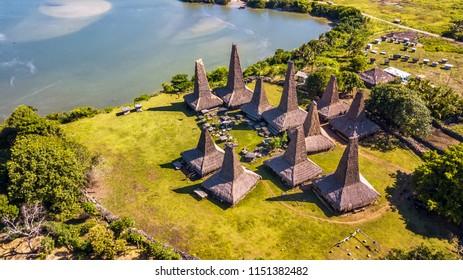 "Aerial view of traditional house of ""Ratenggaro - Sumba, East Nusa Tenggara"" Indonesia"