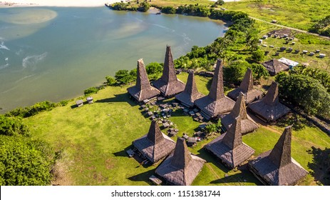 "Aerial view of traditional house of ""Ratenggaro"" in Sumba Island, East Nusa Tenggara of Indonesia"