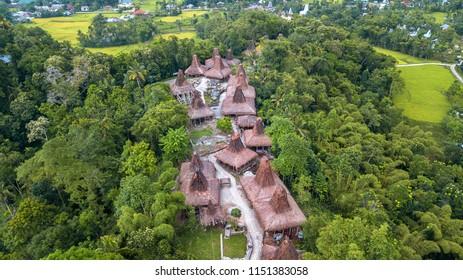 Aerial view  of traditional hut at Kampung Adat Praijing, Sumba Indonesia
