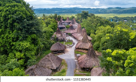 Aerial view  of traditional hut at Kampung Adat Praijing, Sumba Indonesia