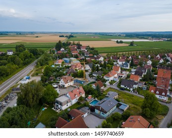 Aerial view of traditional village in Germany. With the view from a drone, the houses and surroindings look like a miniature village.