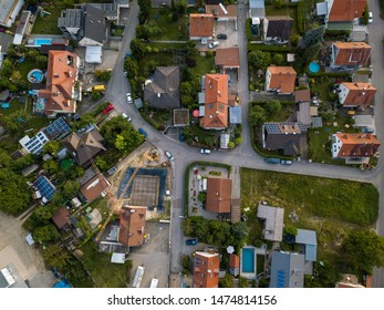 Aerial view of traditional village in Germany. Looking straight down with a satellite image style, the houses look like a miniature village