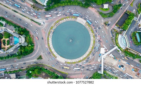Aerial view of traffic jam on Hotel Indonesia roundabout in Jakarta central business district, Indonesia