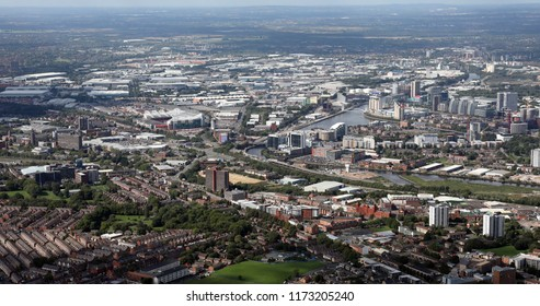 aerial view of Trafford & Salford Quays area, Manchester