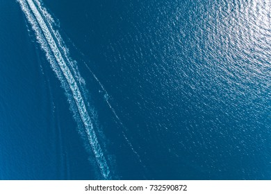 Aerial view of the trail on the water from the boat