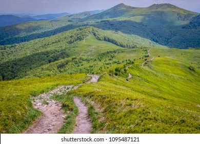 Aerial view from trail on Wetlina Meadows, Bieszczady Mountains in Poland