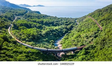 Aerial view of train and railway on Hai Van pass, Bach Ma mountain, Hue, Vietnam