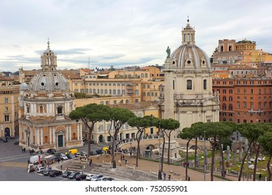 Aerial view of Trajan's Column, churches Santa Maria di Loreto and SS Nome di Maria in Rome, Italy